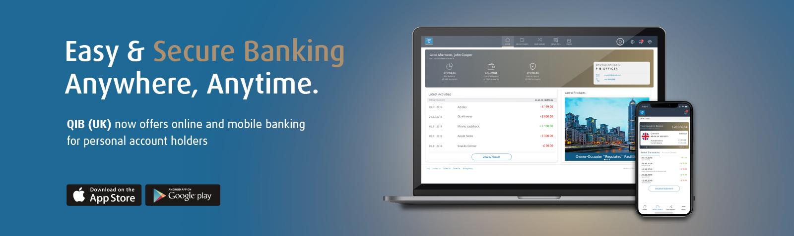 Mobile banking slider